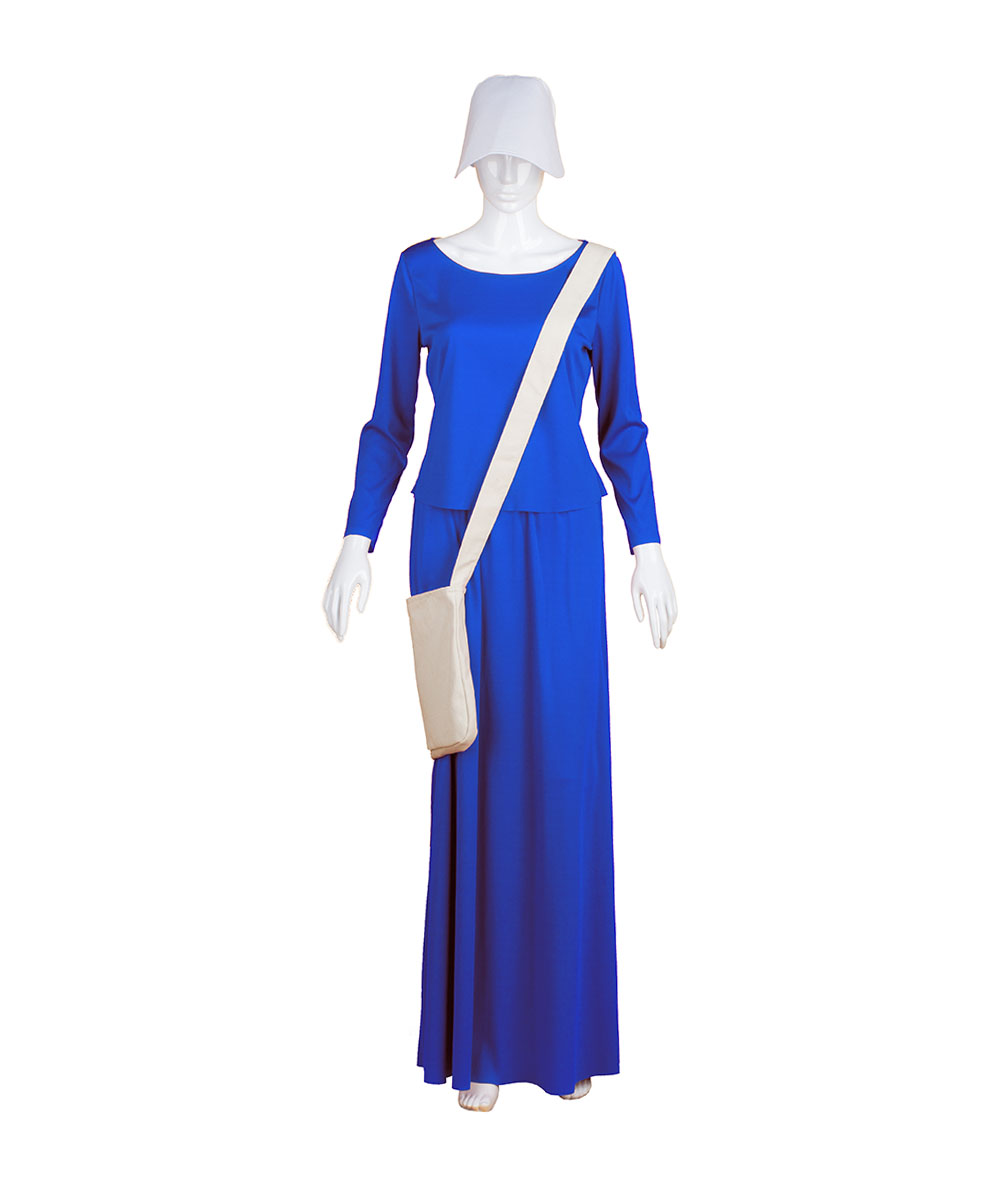 Sky Blue Dress Handmaid Cosplay Costume with Bag and Bonnet
