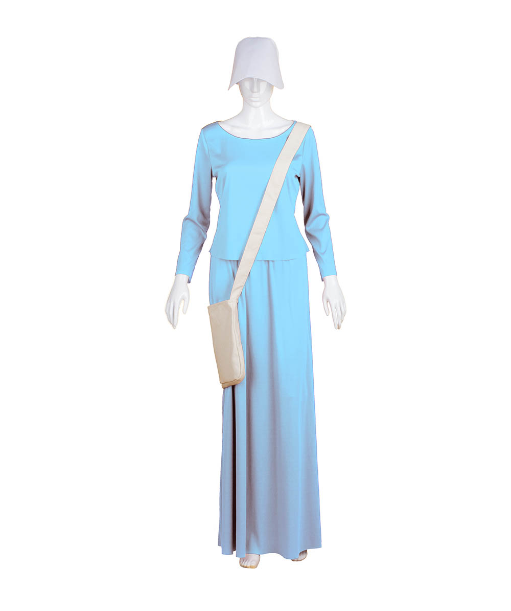 Lt Blue Dress Handmaid Cosplay Costume with Bag and Bonnet