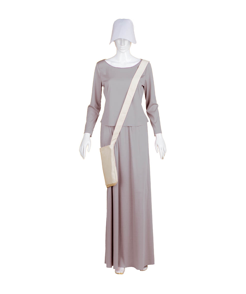 Purple Dress Handmaid Cosplay Costume with Bag and Bonnet