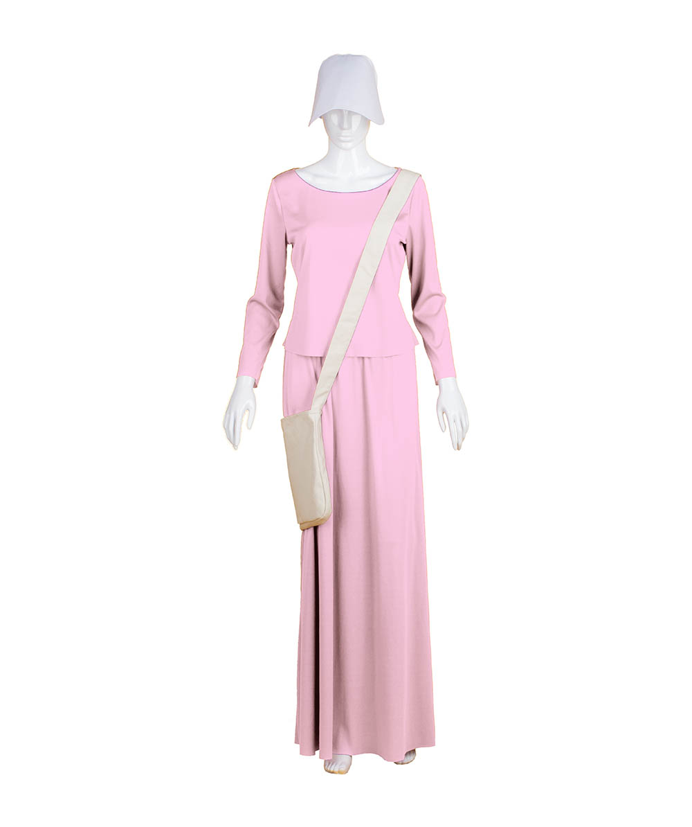 Pink Dress Handmaid Cosplay Costume with Bag and Bonnet