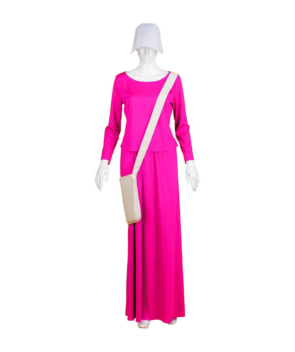 Fuchsia Dress Handmaid Cosplay Costume with Bag and Bonnet