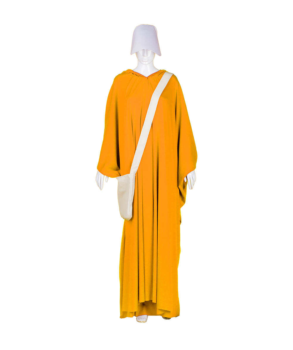 Orange Robe Handmaid Cosplay Costume with Bag and Bonnet