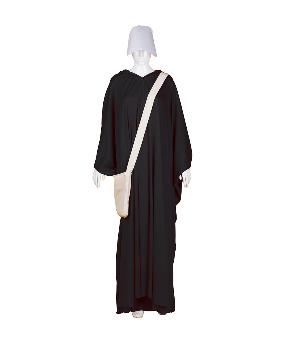 Black Robe Handmaid Cosplay Costume with Bag and Bonnet