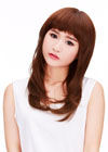 This wig is clean and neat in appearance as the hair is perfectly styled on the head. It is a classy look as the straight hair is very long. On the forehead, straight bangs fall down to eye level, covering the entire forehead.