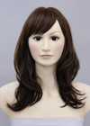 This wig style is straight and very long. The hair falls evenly all around. The look is simple and clean.