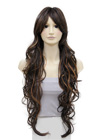 Simply stunning. This very long curly wig style looks romantic and desirable. The hair falls long all around with some hair from the front pinned back towards the back.
